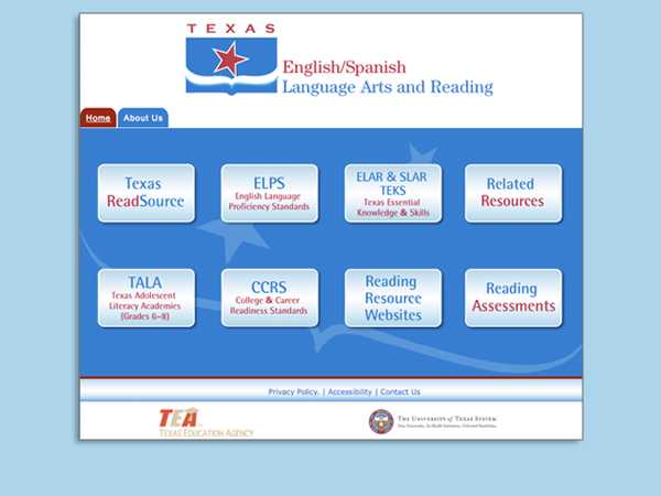 Landing Page Design for Texas English Language Arts and Reading Website